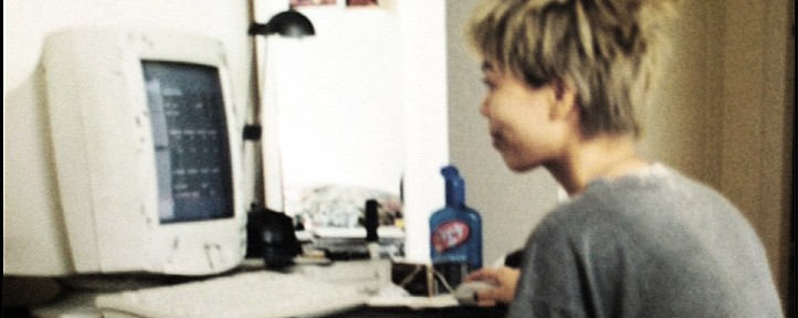 (year 2000) Bad pic of me in my then crappy studio. In my pyjamas with bad hair even though I'm within arm's reach of a bottle of hair gel. I'm using MODPLUG TRACKER. Why are there no speakers? How was I able to hear anything?
